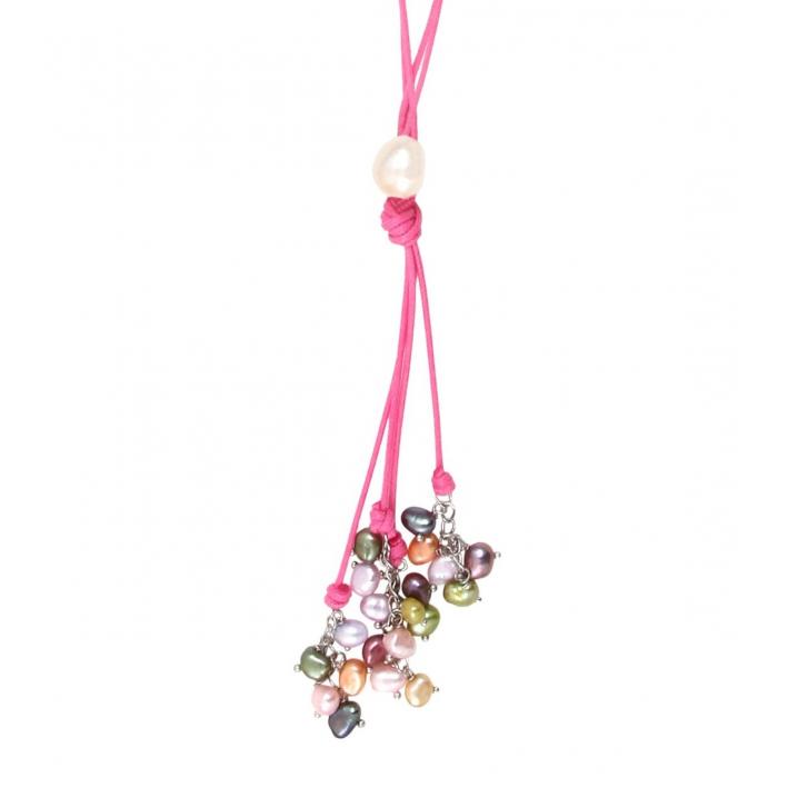Sautoir cravate rose grappe de perles de culture muticolores