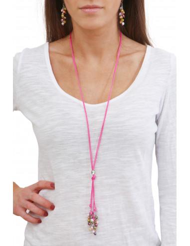 Sautoir cravate cordon rose et sa grappe de perles de culture muticolores