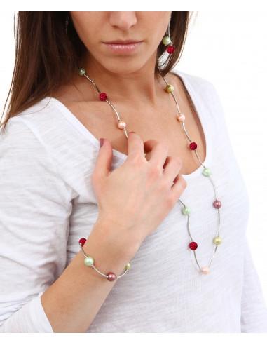 Sautoir perles de nacre et shamballas rose sur tubes