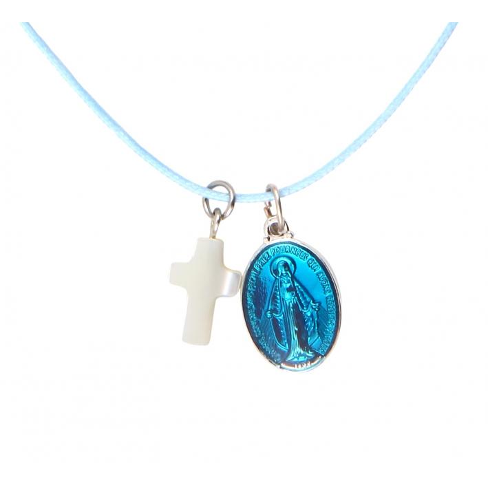 Collier Médaille miraculeuse en métal argenté émaillée bleue