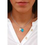 Collier médaille miraculeuse métal argenté émaillée bleue
