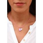 Collier médaille miraculeuse métal argenté emaillée rose