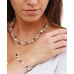 Collier 3 rangs perles de culture et de rocaille argentées