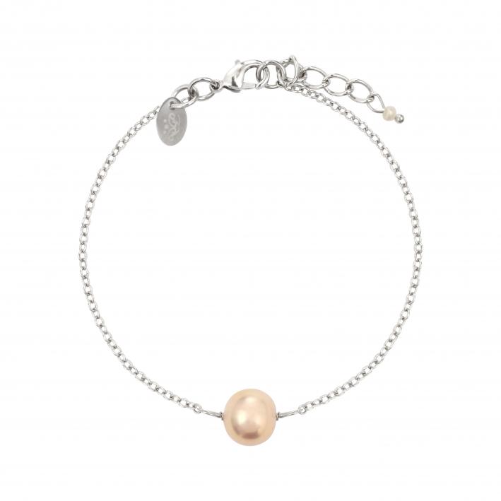 Bracelet une perle de culture pêche sur chaîne argentée