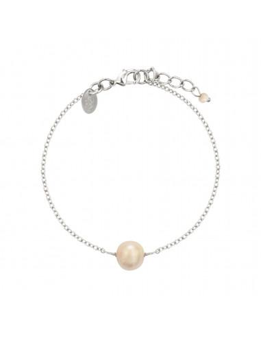 Bracelet une perle de culture blanche sur chaîne argentée