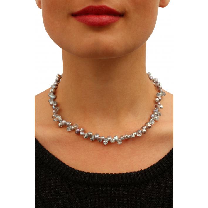 Collier perles de culture 'pluie' et cristal argenté