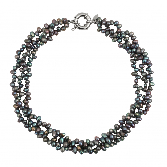 Collier 3 rangs de perles de pluie naturelles noires