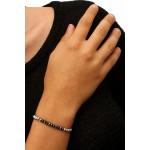 Bracelet élastique rivière duo de cristal noir et argenté