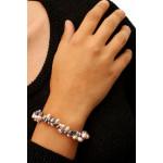 Bracelet perles de culture rares pétales grises et roses