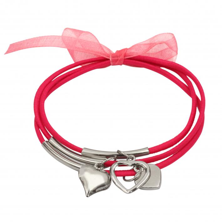 Bracelet trois rangs élastique rose breloques cœoeur
