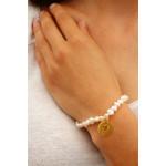 Bracelet perles de cultures et breloque coeur plaqué or