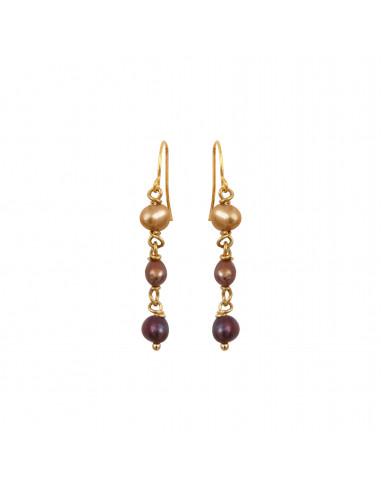 Boucles d'oreilles perles de culture en dégradé de doré