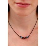 Collier perles de culture et de cristal sur cordon noir