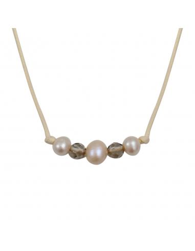 Collier beige véritables perles de culture et de cristal