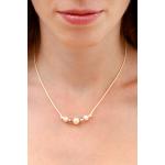Collier perles de culture et de cristal sur cordon beige