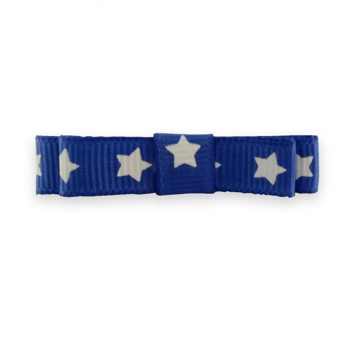 Barrette cheveux enfant pince ruban bleu étoiles blanches