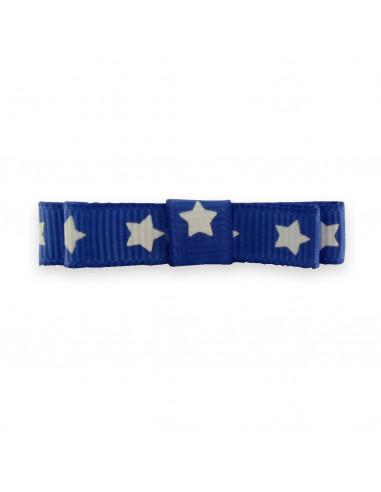 Barrette enfant pince ruban bleu étoiles blanches