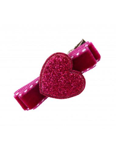 Barrette en velours surpiqué coeur framboise cœur paillette rose