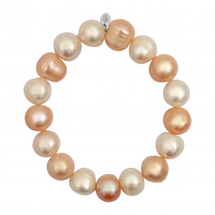 Bracelet prestige perles de culture rares tons pêches