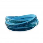 Bracelet double tour 4 rangs en strass turquoise et bleu