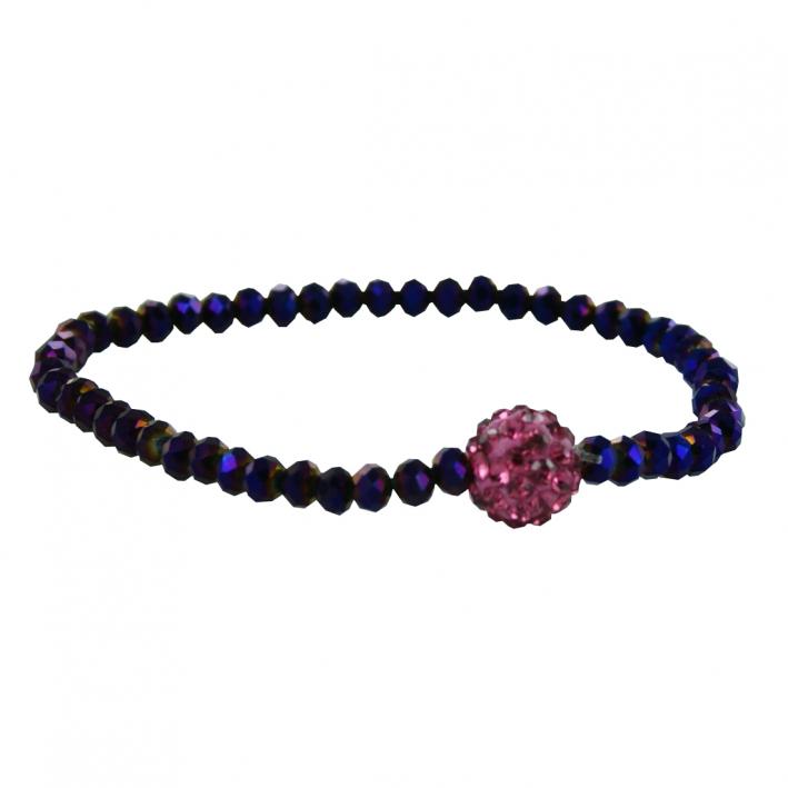 Bracelet élastique gala shamballa cristal améthyste