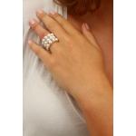 Bague élastique 3 rangs perles de culture naturelles blanches