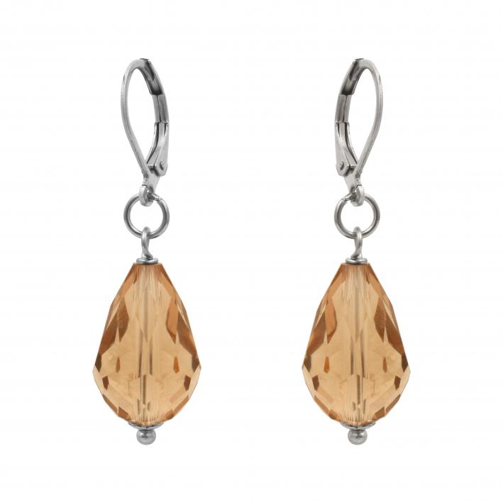 Boucles d'oreilles cristal gouttes facettées dorées