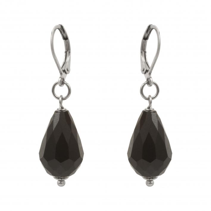 Boucles d'oreilles cristal gouttes facettées noires