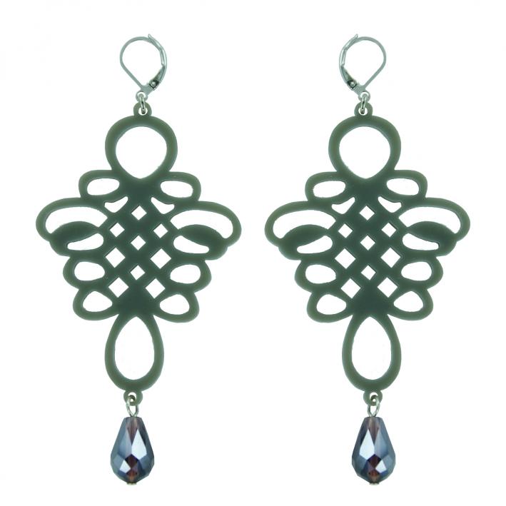 Boucles d'oreilles baroques vénitiennes grises et cristal