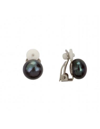 Boucles d'oreilles clip Perle noire sur monture argentée