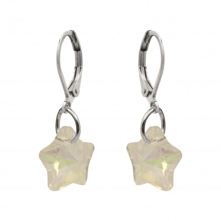 Boucles d'oreilles étoile en cristal blanc irisé
