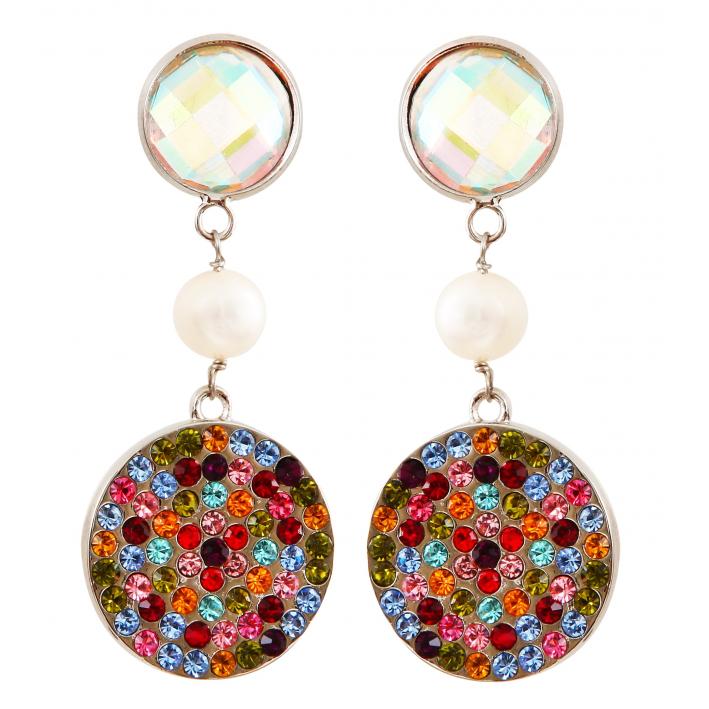 Boucles d'oreilles clip pavage de cristal multicolore scintillant