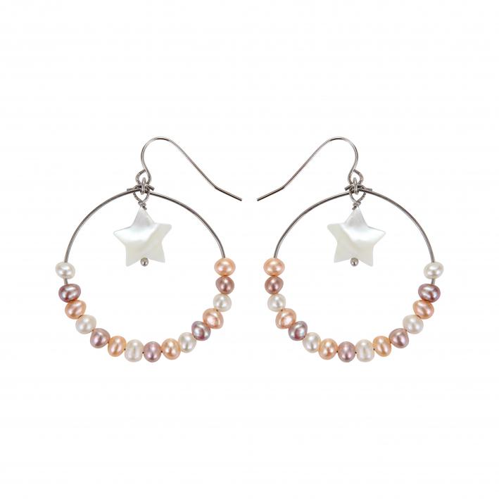 Boucles d'oreilles créoles étoile en nacre irisée