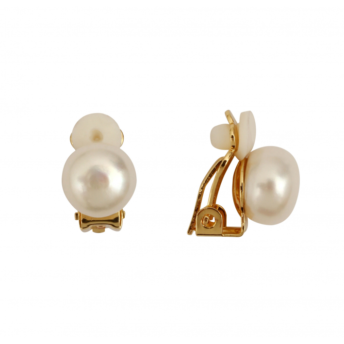Boucles d'oreilles Clips Perle blanche monture dorée