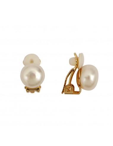 Boucles d'oreilles clip Perle blanche monture dorée