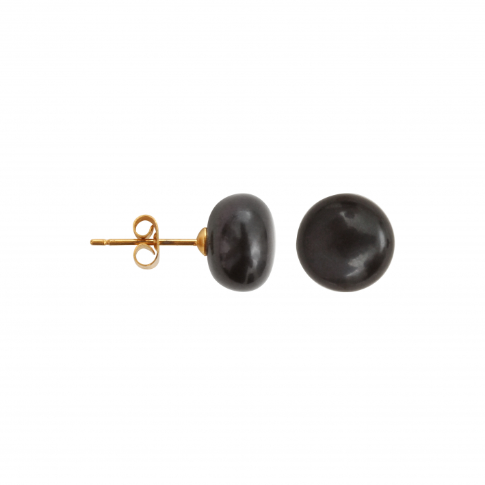 Boucles d'oreilles puce Perles de culture noires - grandes