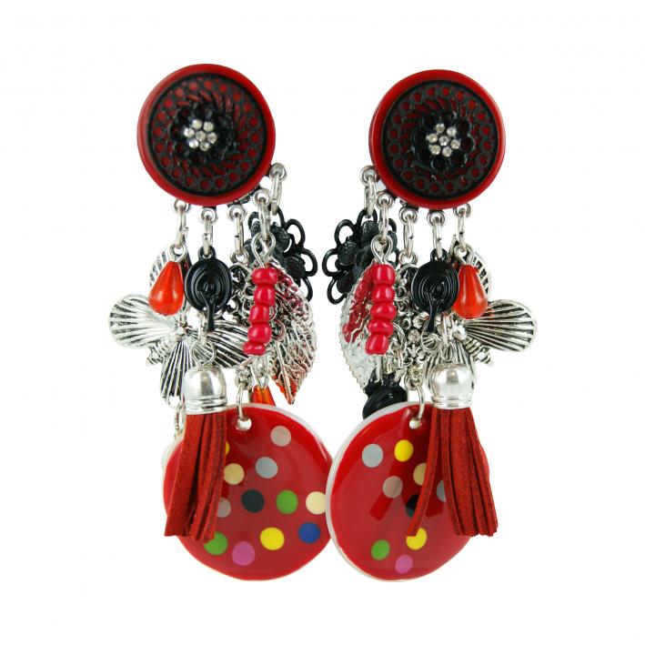 Boucles d'oreilles Clip bohême nacre rouge