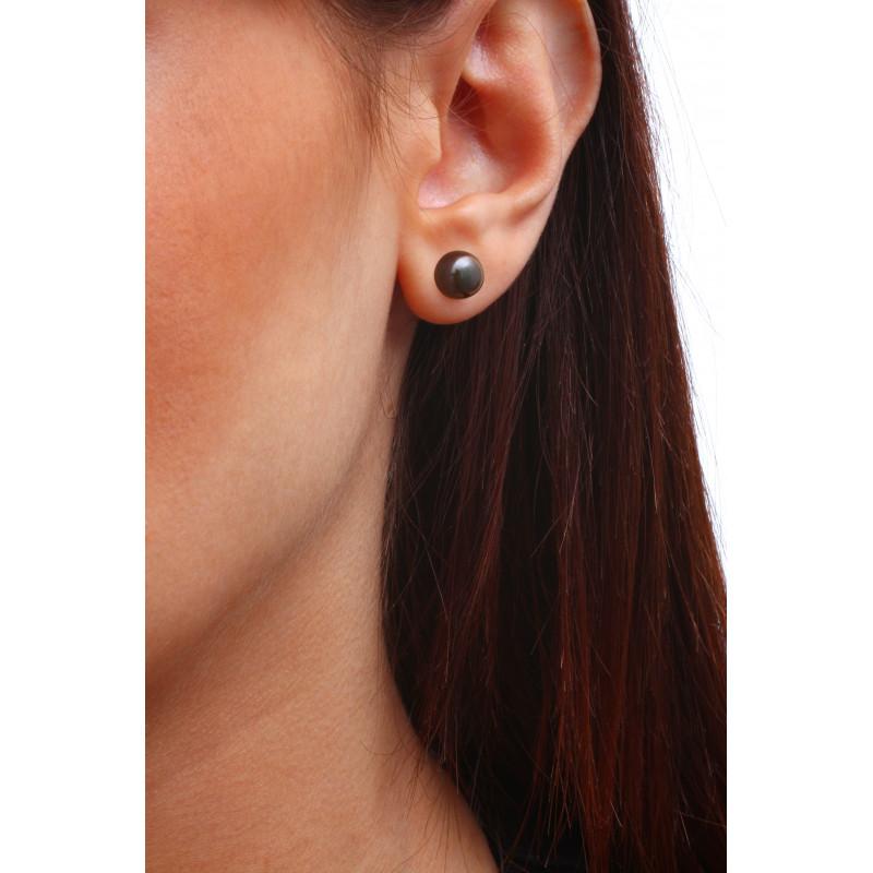 Boucles d'oreilles perles de culture noires