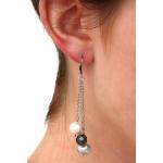 Boucles d'oreilles perles de culture et hématites facettées