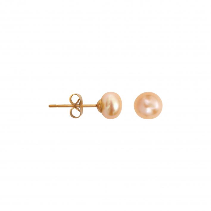 Boucles d'oreilles puces une perle de culture pêche petite