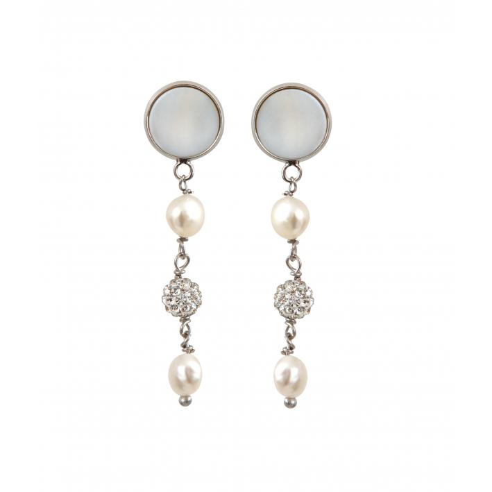 Boucles d'oreilles clip trio de perles de culture et shamballas