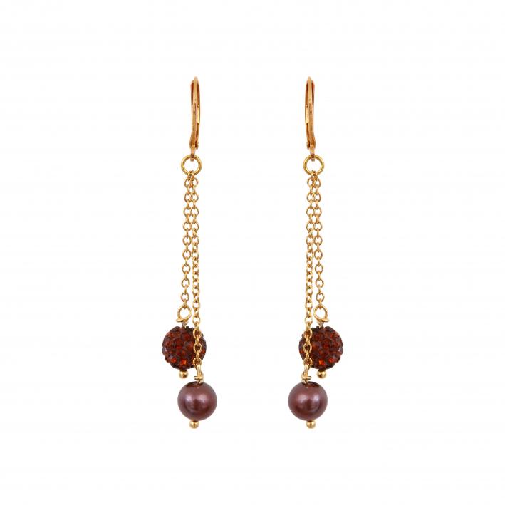 Boucles d'oreilles perles de culture et shamballas dorées