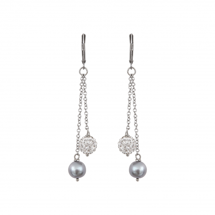 Boucles d'oreilles perles de culture et shamballas argentés