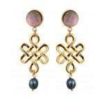 Boucles d'oreilles Clips métal doré et perles de culture noires