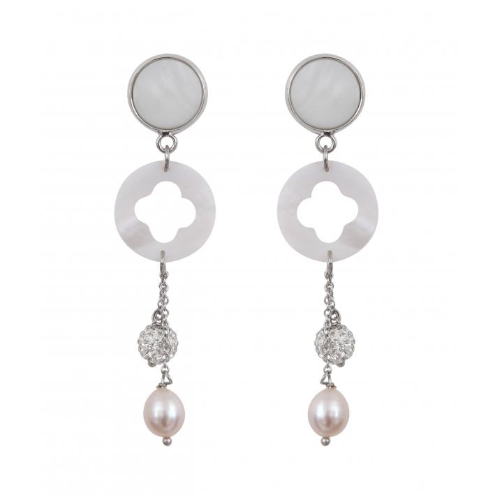 Boucles d'oreilles clip trèfle de nacre et duo de perles de culture blanches et shamballa scintillant