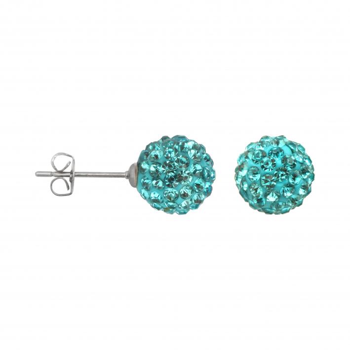 Boucles d'oreilles puce perles shamballa turquoises