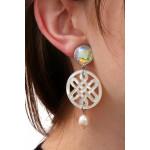 Boucles d'oreilles clips filigrane nacre irisée