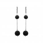 Boucles d'oreilles noires duo perles de culture et shamballas