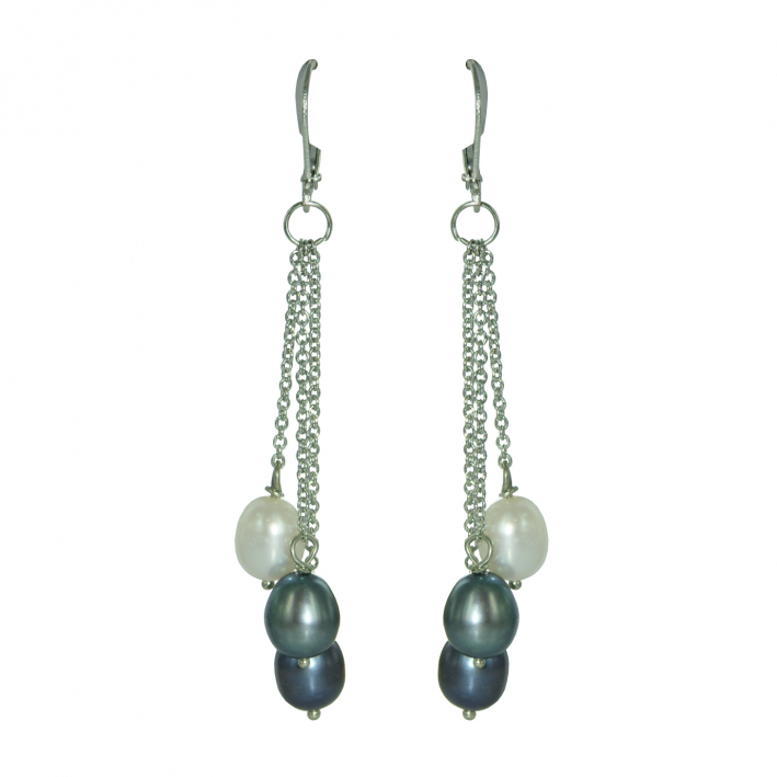 Boucles d'oreilles trio de perles de culture grises
