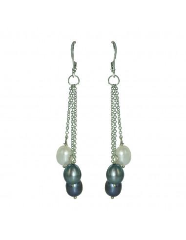Boucles d'oreilles perle grise, noire et blanche de culture